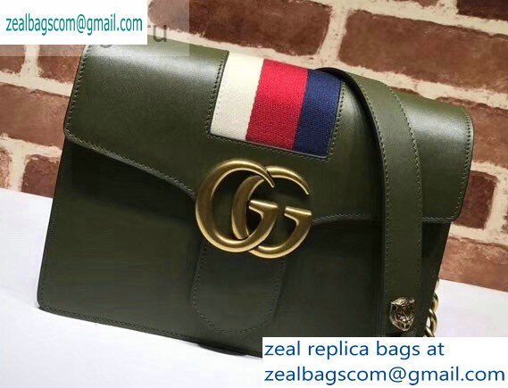Gucci Web GG Marmont Leather Shoulder Bag 476468 Army Green