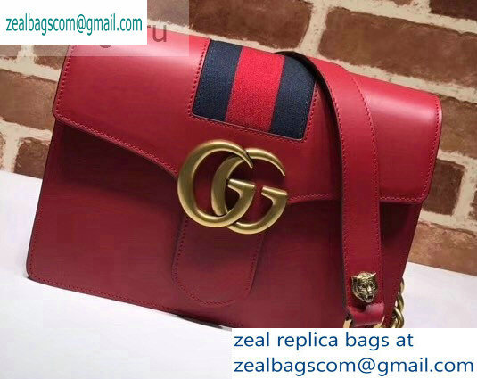 Gucci Web GG Marmont Leather Shoulder Bag 476468 Red