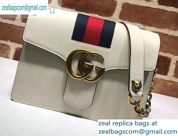 Gucci Web GG Marmont Leather Shoulder Bag 476468 White