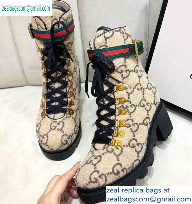 Gucci Web Strap with Buckle Wool Ankle Boots GG Beige 2019