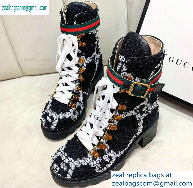Gucci Web Strap with Buckle Wool Ankle Boots GG Black 2019