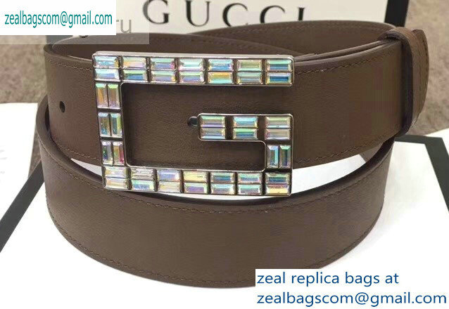 Gucci Width 3.5cm Leather Belt Brown with Crystals Square G Buckle