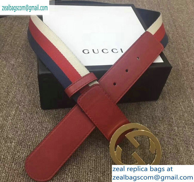 Gucci Width 4cm Sylvie Web and Leather Belt Red with Interlocking G Buckle