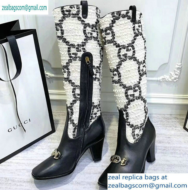 Gucci Zumi Tweed Knee Boots 577652 GG White 2019