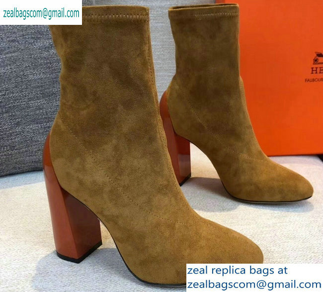 Hermes Heel 10cm Suede Ankle Boots Khaki 2019