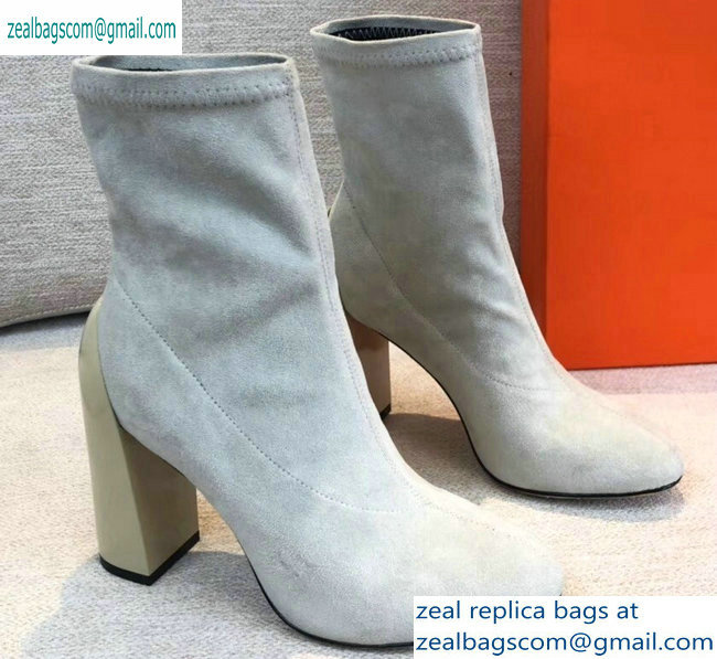 Hermes Heel 10cm Suede Ankle Boots Off White 2019