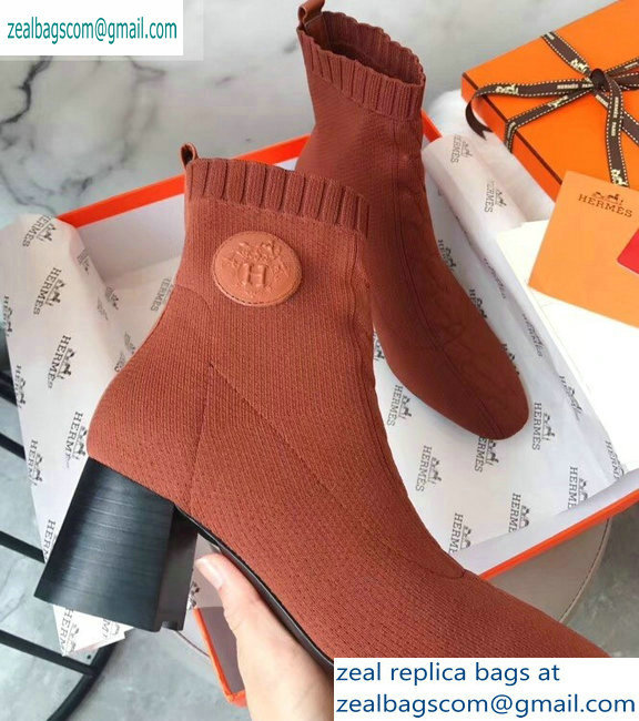 Hermes Heel 6cm Knit Volver 60 Ankle Boots Brown 2019