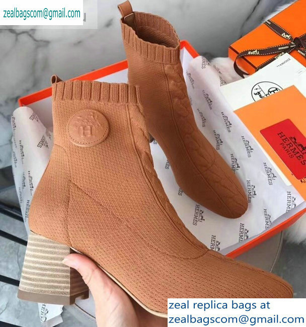 Hermes Heel 6cm Knit Volver 60 Ankle Boots Khaki 2019