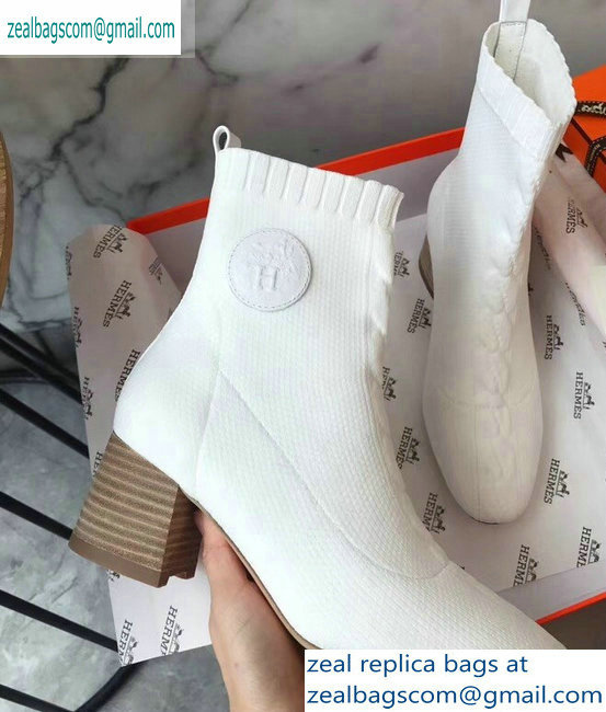 Hermes Heel 6cm Knit Volver 60 Ankle Boots White 2019