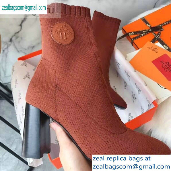 Hermes Heel 9cm Knit Volver 90 Ankle Boots Brown 2019