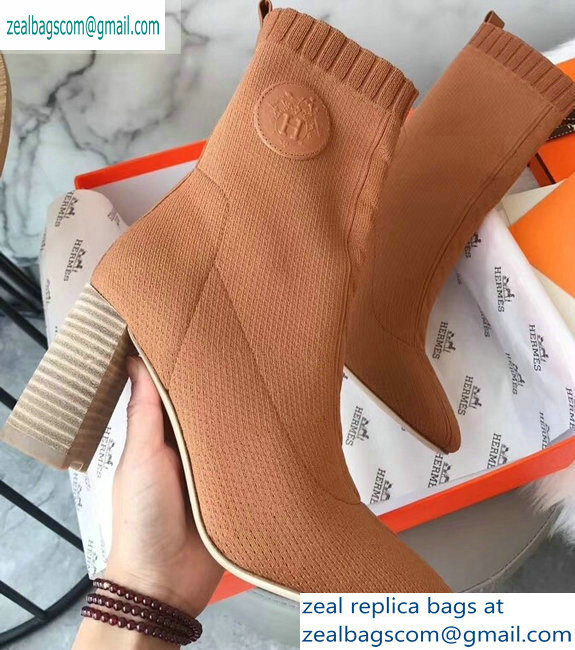 Hermes Heel 9cm Knit Volver 90 Ankle Boots Khaki 2019