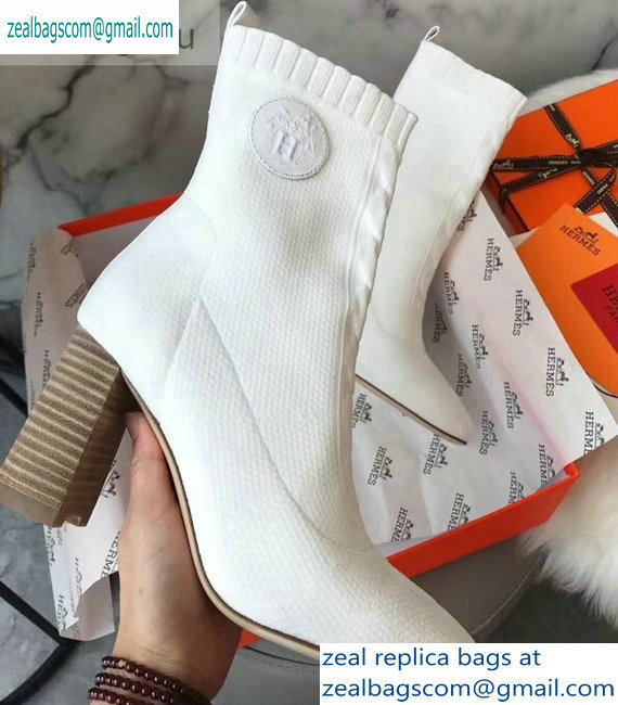 Hermes Heel 9cm Knit Volver 90 Ankle Boots White 2019
