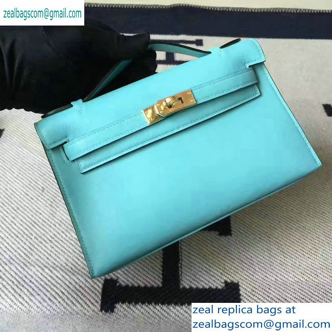 Hermes Kelly 22 Clutch Bag In Original Swift Leather Macaron blue