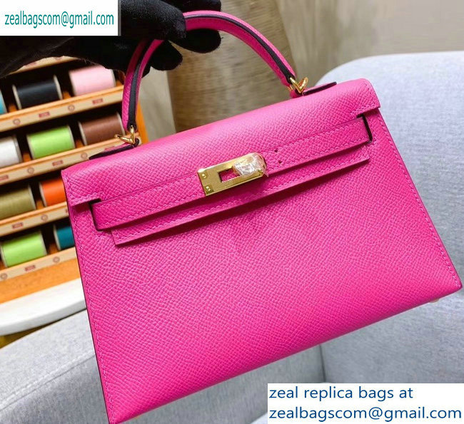 Hermes Mini Kelly II Bag in Original Epsom Leather Dark Pink