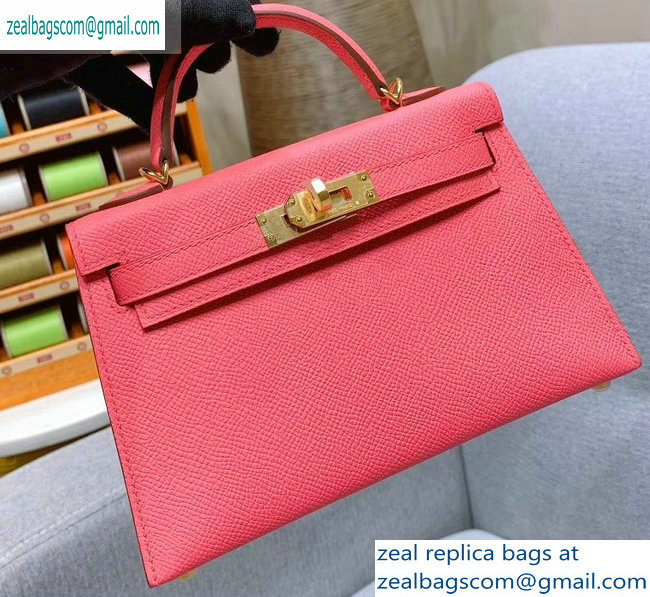 Hermes Mini Kelly II Bag in Original Epsom Leather Peach Red