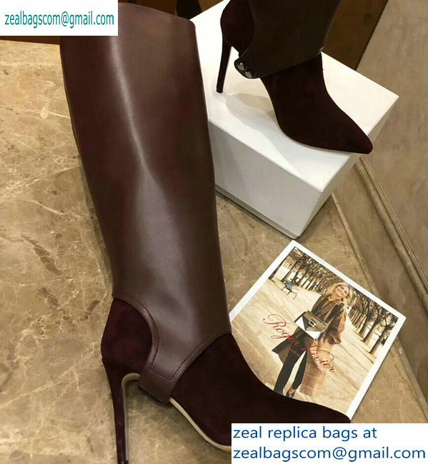 Jimmy Choo Heel 10cm Calfskin and Suede Pointed Toe High Boots Burgundy 2019