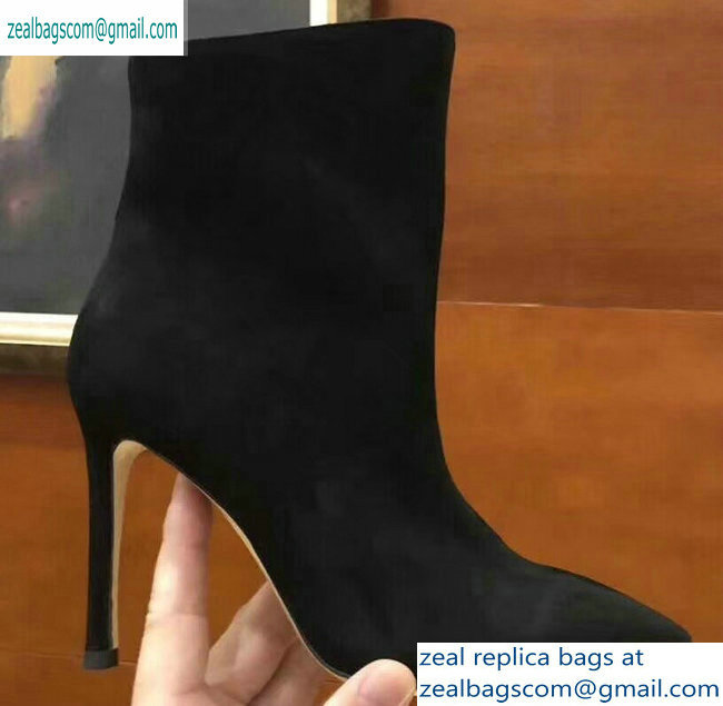 Jimmy Choo Heel 10cm Suede Pointed Toe Ankle Boots Black 2019