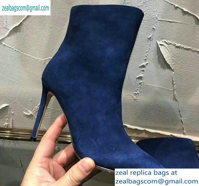 Jimmy Choo Heel 10cm Suede Pointed Toe Ankle Boots Blue 2019