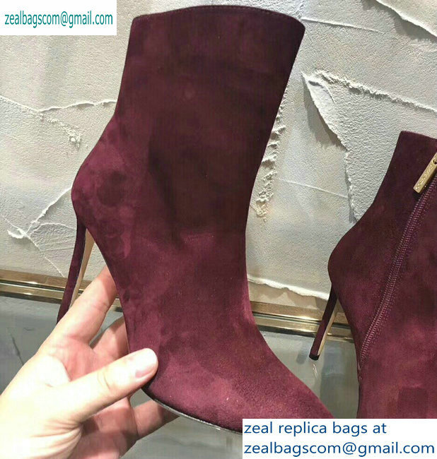 Jimmy Choo Heel 10cm Suede Pointed Toe Ankle Boots Burgundy 2019