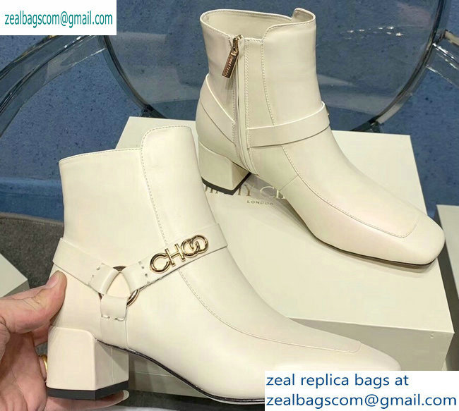 Jimmy Choo Heel 4.5cm Calf Leather Ankle Boots Creamy with Gold Choo 2019