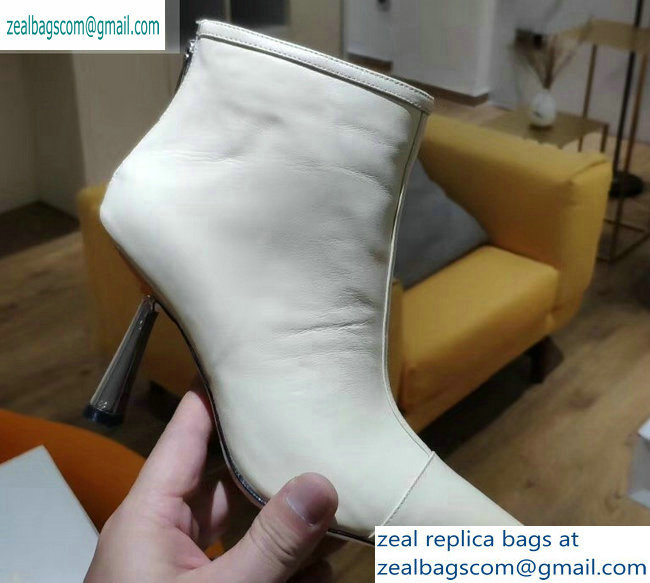 Jimmy Choo Heel 8cm Kix Pointed Toe Boots Leather Creamy 2019