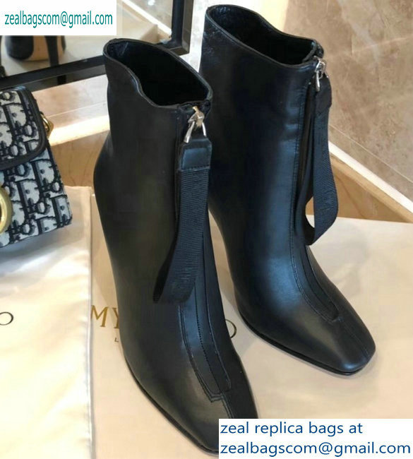 Jimmy Choo Heel 9.5cm Calfskin Ankle Boots Black with Front Zip 2019