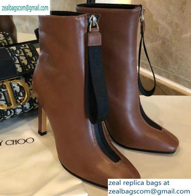 Jimmy Choo Heel 9.5cm Calfskin Ankle Boots Brown with Front Zip 2019