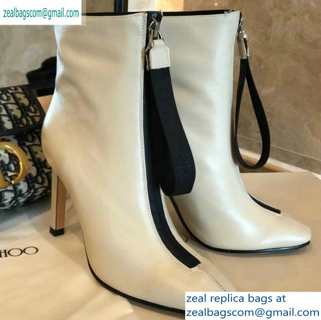 Jimmy Choo Heel 9.5cm Calfskin Ankle Boots Creamy with Front Zip 2019