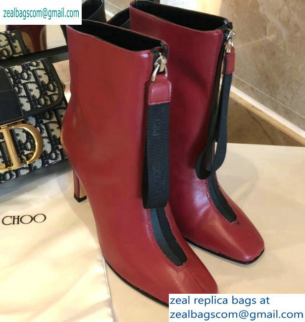 Jimmy Choo Heel 9.5cm Calfskin Ankle Boots Red with Front Zip 2019