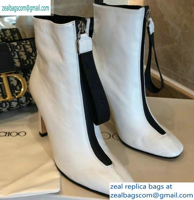 Jimmy Choo Heel 9.5cm Calfskin Ankle Boots White with Front Zip 2019