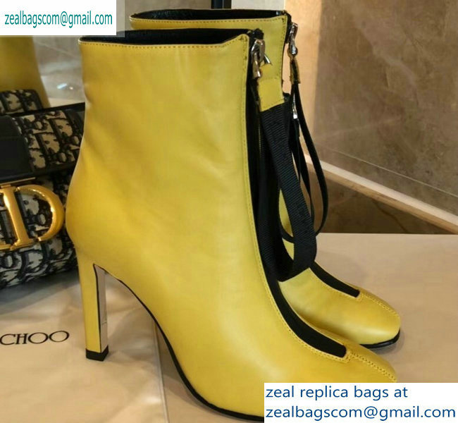 Jimmy Choo Heel 9.5cm Calfskin Ankle Boots Yellow with Front Zip 2019