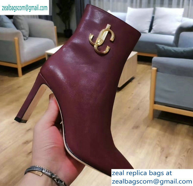 Jimmy Choo Heel 9.5cm Minori Calf Leather Ankle Boots Burgundy with Gold JC 2019
