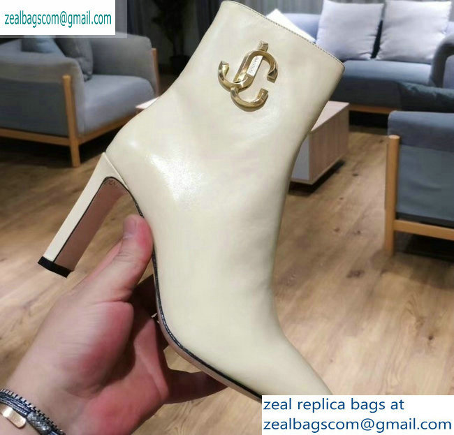 Jimmy Choo Heel 9.5cm Minori Calf Leather Ankle Boots Creamy with Gold JC 2019