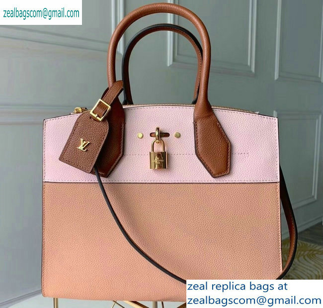 Louis Vuitton City Steamer MM Tote Bag M53068 Pink/Beige/Tan