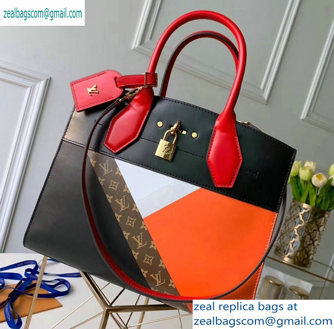 Louis Vuitton City Steamer MM Tote Bag M53803 Black/Red/Orange