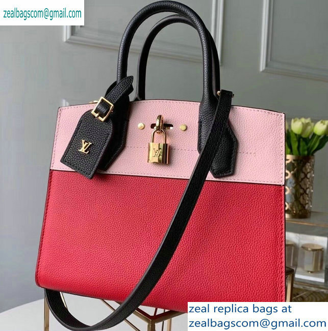 Louis Vuitton City Steamer PM Tote Bag Black/Pink/Red