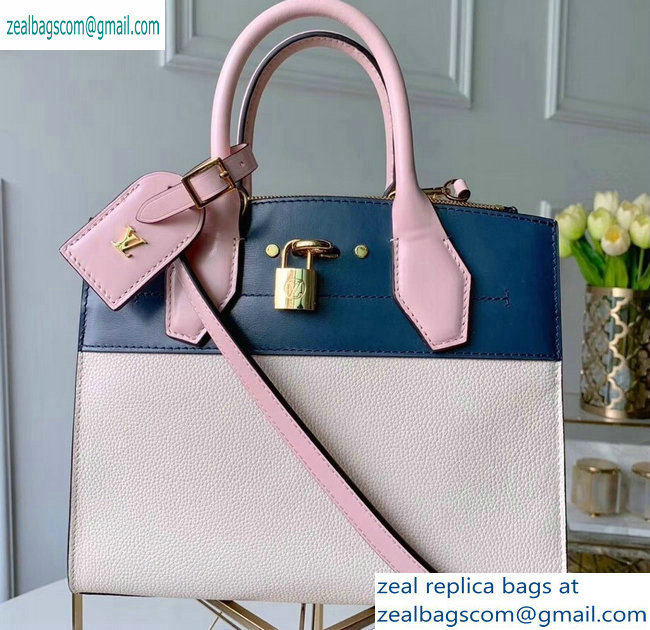 Louis Vuitton City Steamer PM Tote Bag Blue/White/Pink
