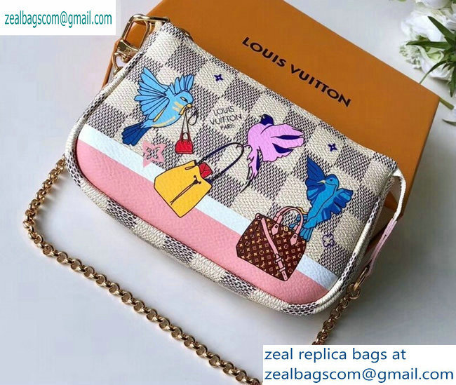 Louis Vuitton Damier Azur Canvas Mini Pochette Accessoires Bag Brids Print N64451