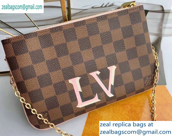 Louis Vuitton Damier Ebene Canvas Pochette Double Zip Bag N60254 2019
