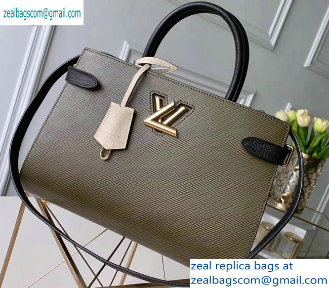 Louis Vuitton Epi Leather Twist Tote Bag M53726 Kaki Creme Noir