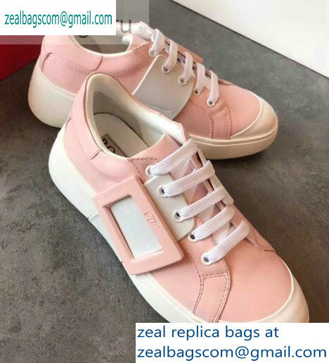 Roger Vivier Viv' Skate Lacquered Buckle Sneakers Pink 2019