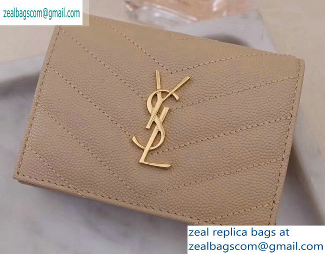 Saint Laurent Monogram Card Case in Grained Embossed Leather 530841 Beige/Gold