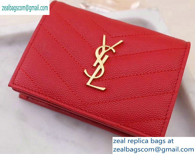Saint Laurent Monogram Card Case in Grained Embossed Leather 530841 Red/Gold