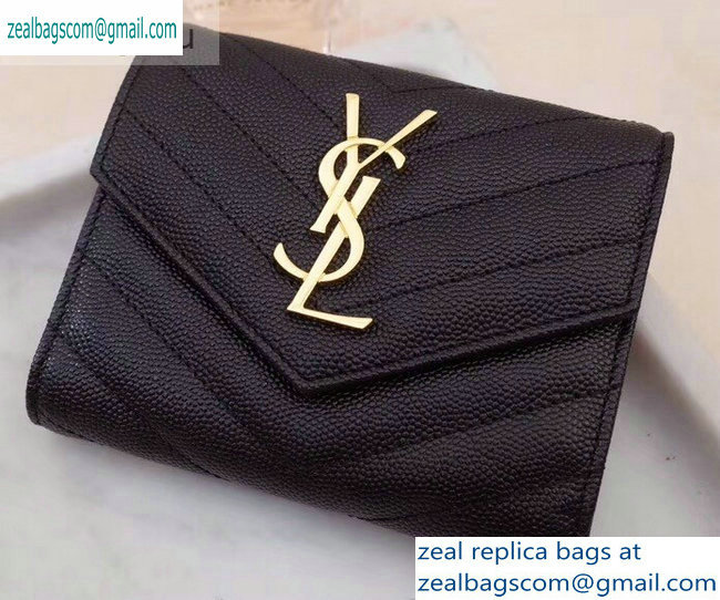Saint Laurent Monogram Compact Tri Fold Wallet in Grained Embossed Leather 403943 Black/Gold