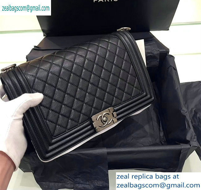 chanel new medium le boy bag black in caviar leather with silver hardware(original quality)