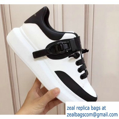 Alexander McQueen Oversized Sneakers White/Black with Buckle 2019