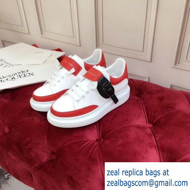Alexander McQueen Oversized Sneakers White/Red with Buckle 2019