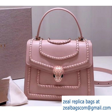 Bvlgari Serpenti Forever 18cm Woven Chain Crossbody Bag Pink 2019