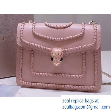 Bvlgari Serpenti Forever 20cm Woven Chain Crossbody Bag Pink 2019