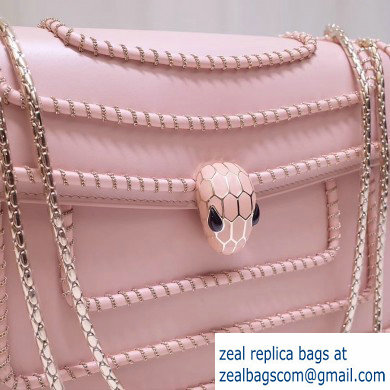 Bvlgari Serpenti Forever 28cm Woven Chain Shoulder Bag Pink 2019